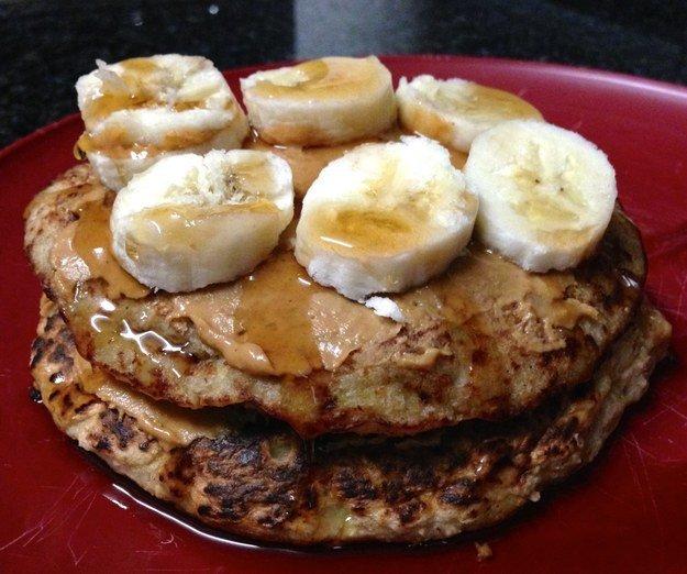 Banana Oat Peanut Butter Pancakes