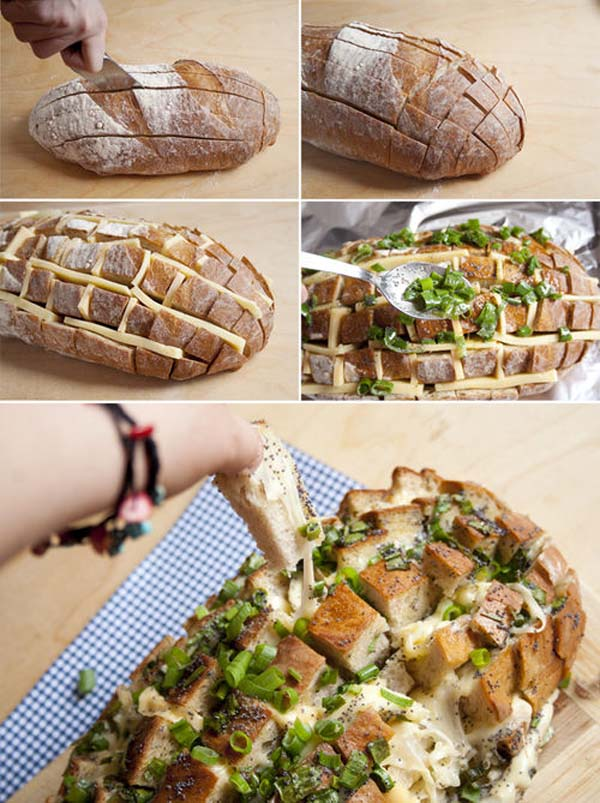 1.) Make easy cheesy bread with an already-baked loaf.