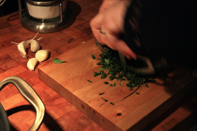 5.) Add a pinch of salt to your cutting board when slicing up herbs to keep them from sticking to your knife.